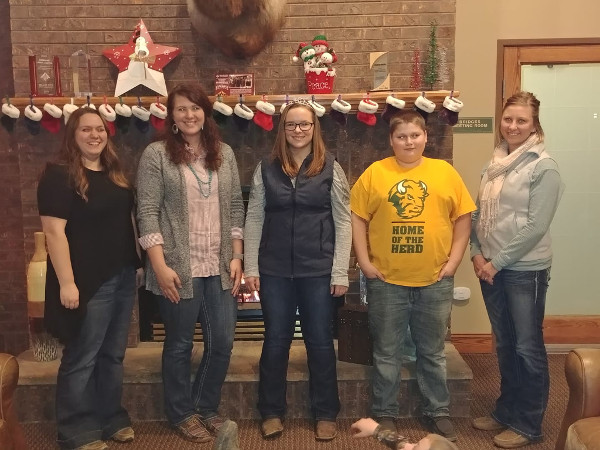 2019 North Dakota Junior Hereford Association Officers: Pictured left to right: Elizabeth Kailene Neshem, sec./treas; LaMae Turk, pres.; Josie Dallman, vice pres.; Kaleb Neshem, director; and Jaime Lundquist, advisor. Not pictured Brooke Kunz, director.